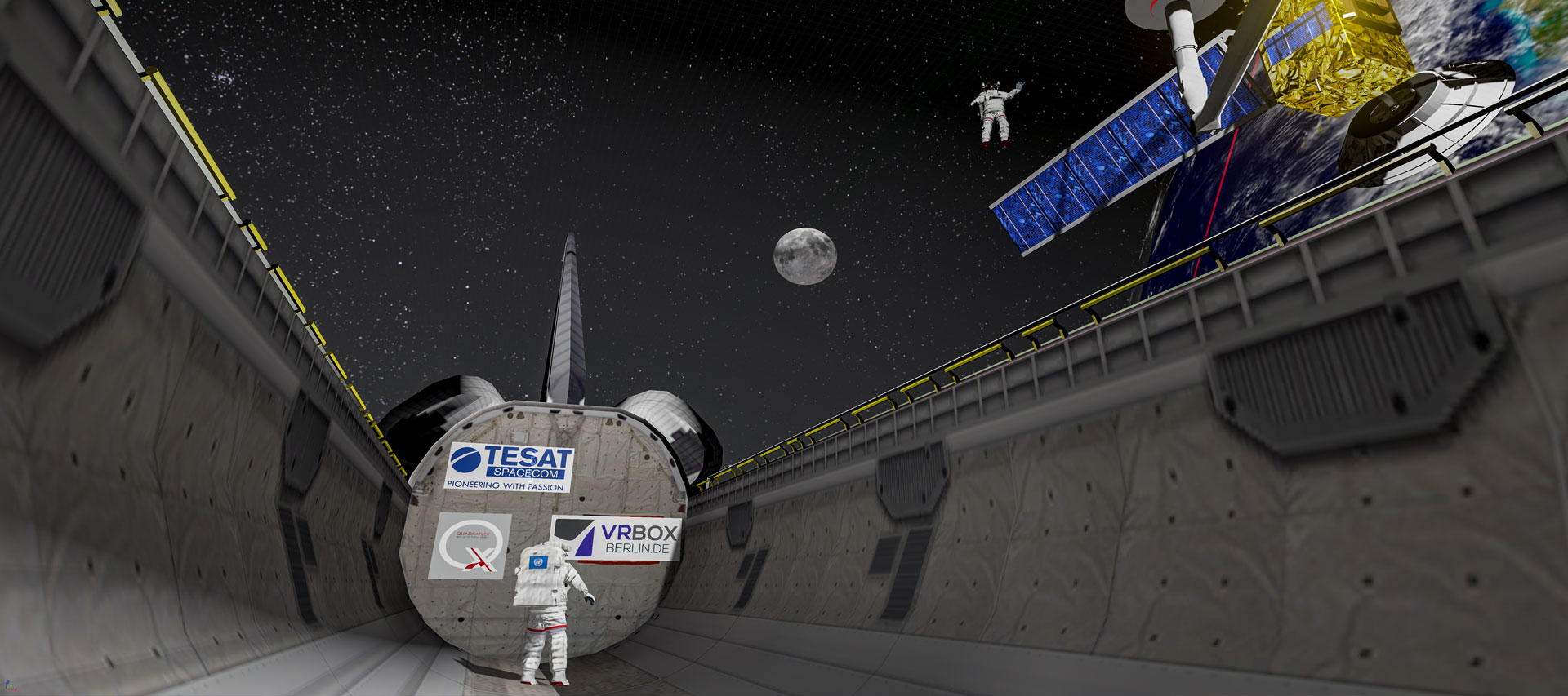 Individuelles Virtual Reality Game. User schwerelos im All zur Satelliten Reparatur